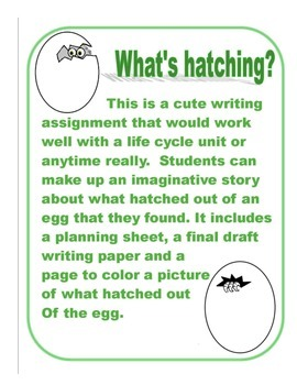 """Egg Writing Template """"What's Hatching?"""""""