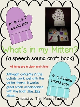What's In My Mitten? speech sound craft  for K,G,R,S,L (al