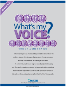 What's My Voice? Fluency Cards: Grades 6-8