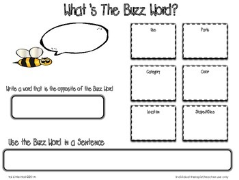 What's The Buzzword? Graphic Organizer for Vocabulary
