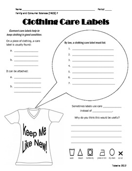 Guided Notes - What's on a Garment Care Label? [Correspond