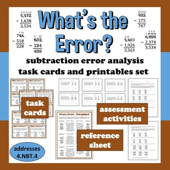 What's the Error? subtraction with regrouping task cards +