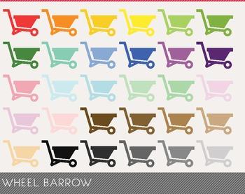 Wheel Barrow Digital Clipart, Wheel Barrow Graphics, Wheel