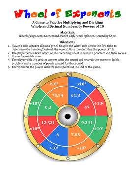 Wheel of Exponents: A Game to Practice Multiplying and Div