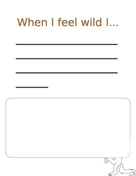 """When I Feel Wild I.... """"Where the Wild Things Are"""" activity"""