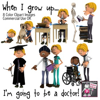 When I Grow Up I Want To Be a Doctor - Color Clip Art, Chi
