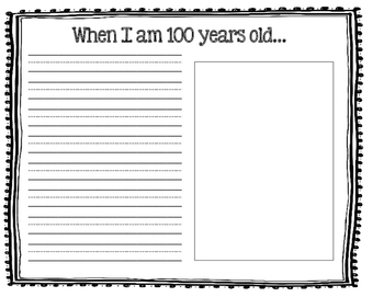 When I am 100 Writing Page