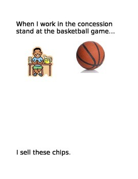 When I work at the concession stand, I sell... book