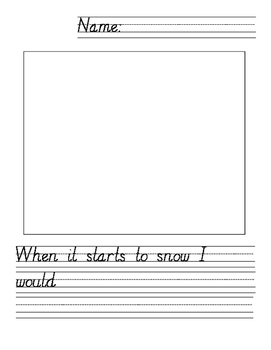 When It Starts to Snow...Writing Prompt Page
