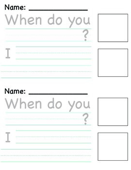"""""""When?"""" Writing Template"""