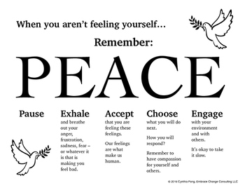 When You Aren't Feeling Yourself...PEACE Poster for Middle