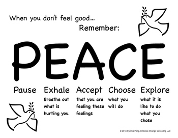 When You Don't Feel Good...PEACE Poster for Elementary/Pri