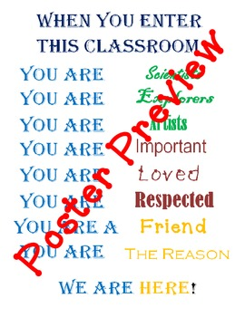 "When You Enter This Classroom (16""x20"") Printable Poster"