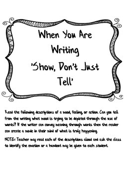 """When Your Writing """"Show Don't Just Tell"""""""