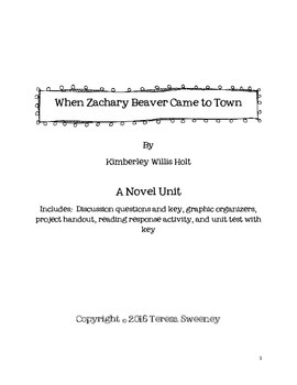 When Zachary Beaver Came to Town Novel Unit