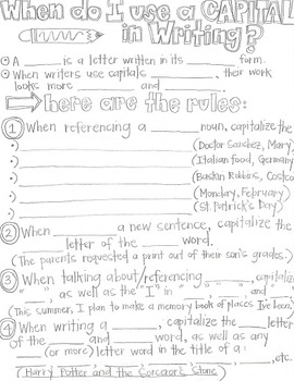 When do I use a Capital in Writing?-Grammar CLOZE Notes an