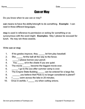 When to use Can or May.  A great worksheet with definition