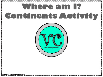 Where Am I? Continents Activity