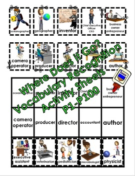 Where Does it Go? - Vocabulary Cut and Paste Activities 1-