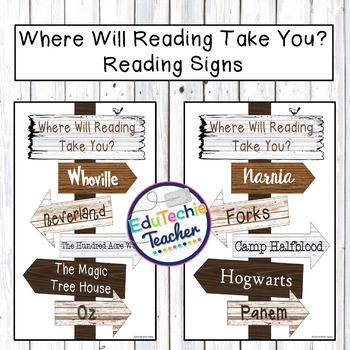 Where Will Reading Take You? {Directional Reading Sign for