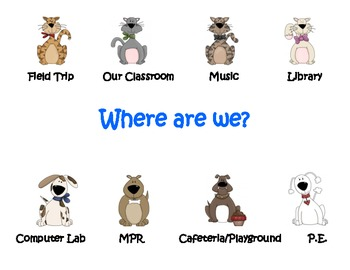 """""""Where are we?"""" door sign to show location (cat and dog theme)"""