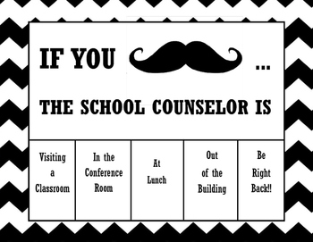 Where is Counselor? office door sign for School Counselors