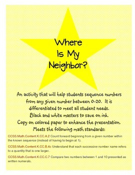 Where is my Neighbor: Number Sense/Sequence Game