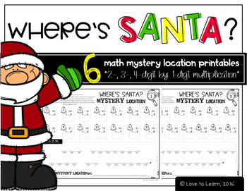 Where's Santa? Multiplication Math Mystery Locations