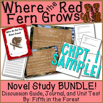 Where the Red Fern Grows Novel Study (Chpts 1-2 FREE SAMPLE!)