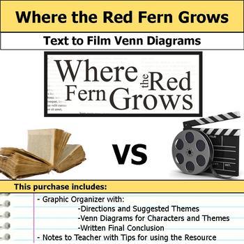 Where the Red Fern Grows - Text to Film Venn Diagram & Wri