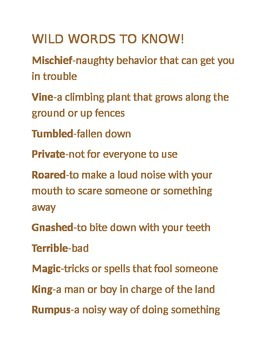 """""""Where the Wild Things Are"""" Vocab Sheet"""