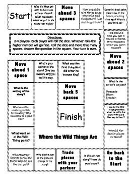 """""""Where the Wild Things Are"""" comprehension game board"""