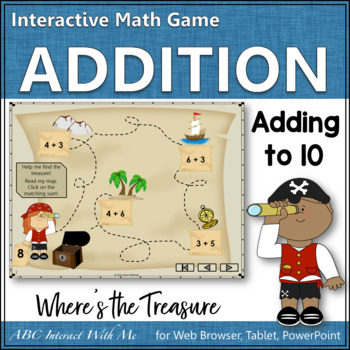Where's the Treasure? Sums 1 to 10 (Interactive Addition Game)
