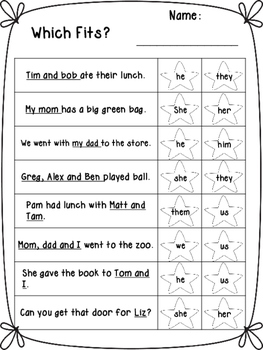 Which Fits? Pronoun Worksheets