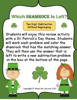 Which Shamrock Is Left?  Two Digit Subtraction Without Regrouping