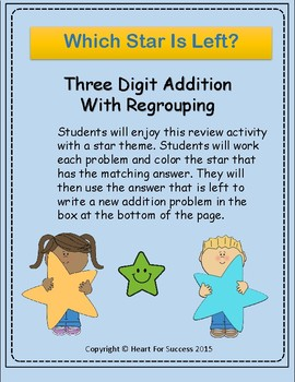Which Star Is Left?  Three Digit Addition With Regrouping