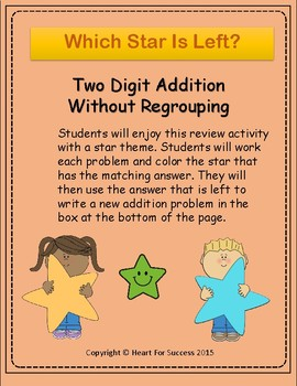 Which Star Is Left? Two Digit Addition Without Regrouping
