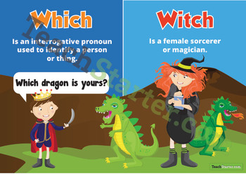 Homophones - Which & Witch Poster