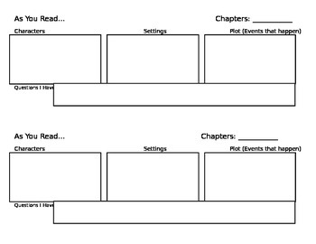 While You Read Story Elements Graphic Organizer