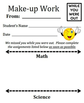 While You Were Absent - Make-up Work Slip