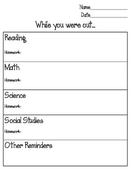 While You Were Out Absent Sheet