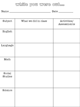 While You Were Out - Absent Sheet