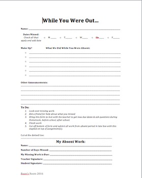 While You Were Out - Absent Student Form - EDITABLE