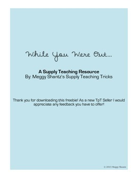 While You Were Out Form - Supply Teaching Resource