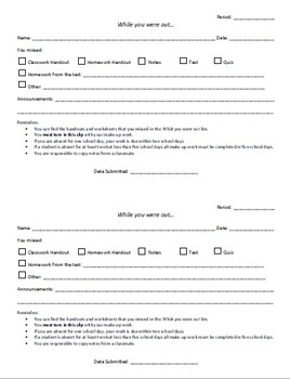 While you were out: Absent Student Form EDITABLE