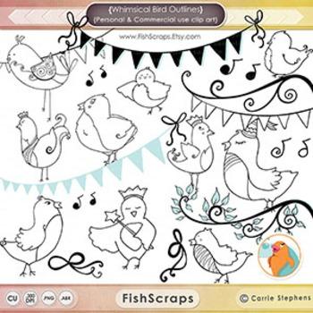 Whimsical Bird Black Line Art, Cute Bird Outlines, PNG Bir