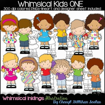 Whimsical Kids ONE Clipart Collection