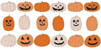 Whimsical Pumpkins and Jack-o-Lanterns Clip Art