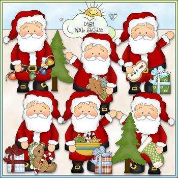 Whimsical Santa Christmas Eve Clip Art - CU Colored Clip Art
