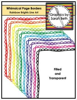 Whimsical Scallop Page Borders - Rainbow Brights Line Art